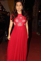 Juhi Chawla In Red Gota Patti and Pearl Embroidered Anarkali Set