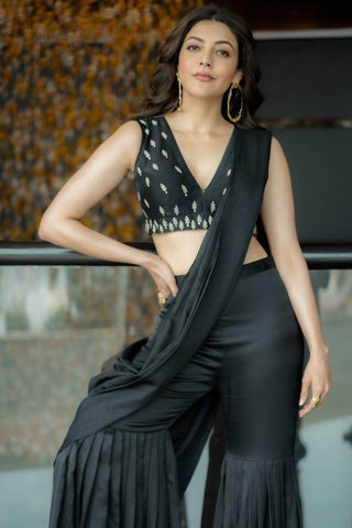 Kajal Aggarwal In Black Sharara with Chanderi Blouse