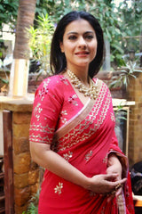 Kajol Devgan In Red Saree with Raw Silk Blouse