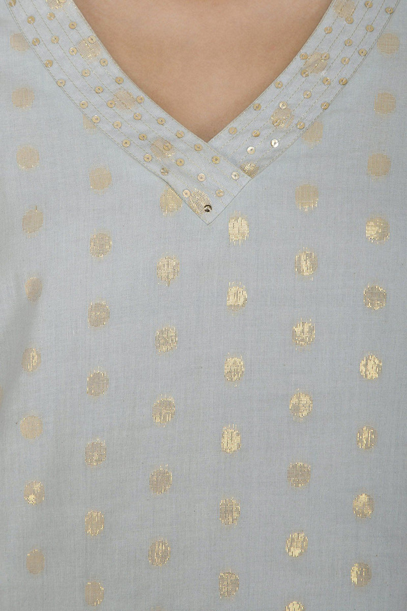 Aqua Blue Straight Kurta with Palazzo - devnaagri