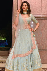 Karishma Tanna In Sage green Lehenga with Silk Blouse