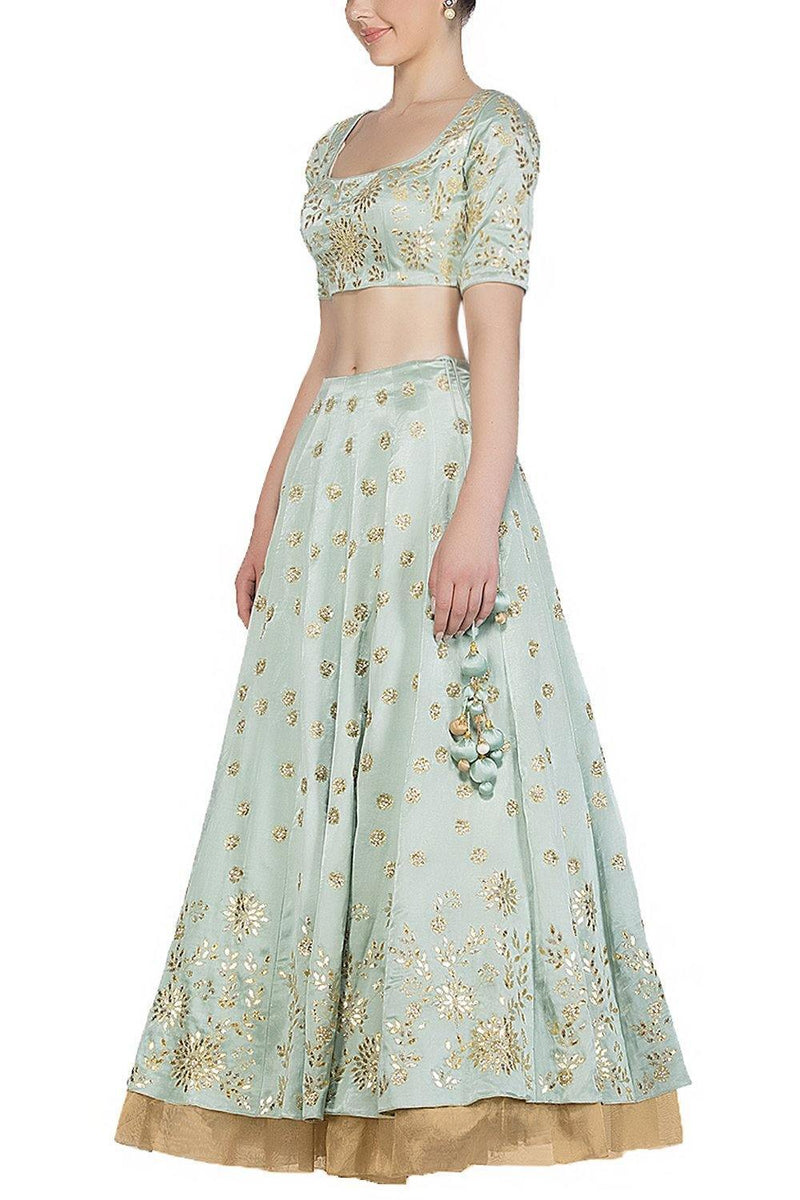 Sage green Lehenga with Silk Blouse - devnaagri