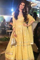 Karishma Tanna In Yellow Anarkali with lycra Churidar