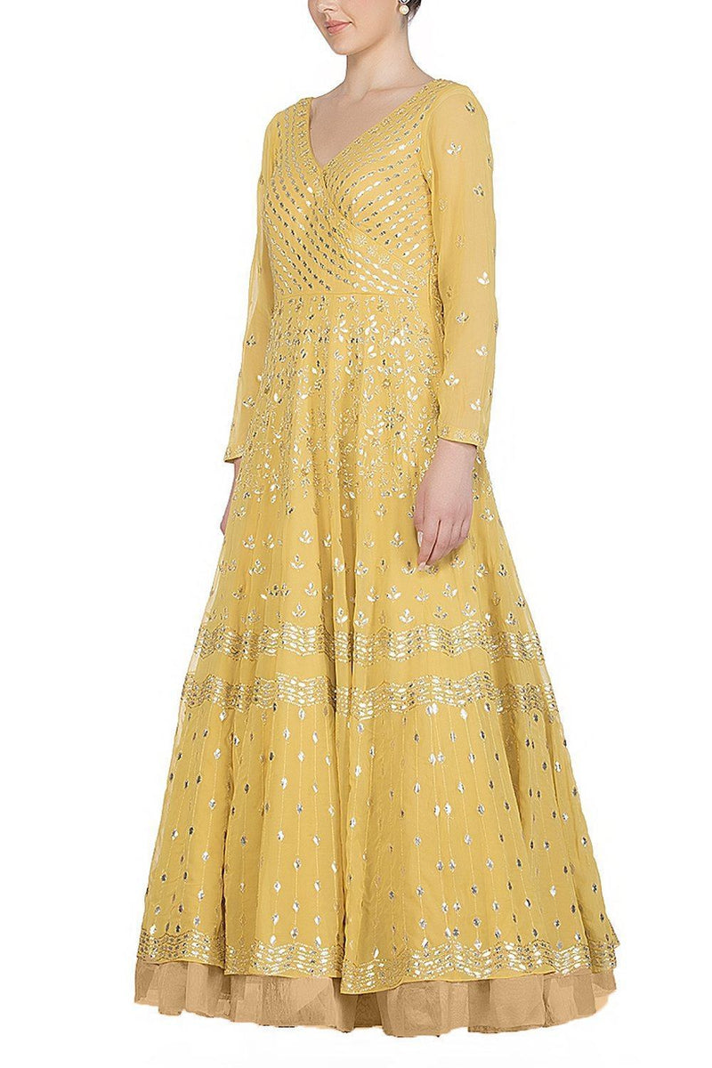 Yellow Anarkali with lycra Churidar - devnaagri