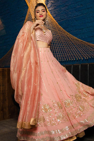 Khushnaz Ashdin Turner In Pink Lehenga with raw silk blouse