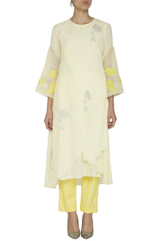 Lemon Assymetrical  Kurta with Slim Pants - devnaagri