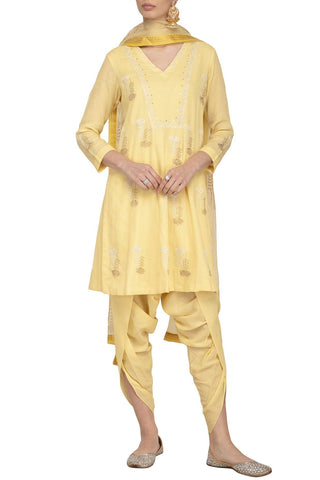 Lemon Dhoti with Kurta Set - devnaagri