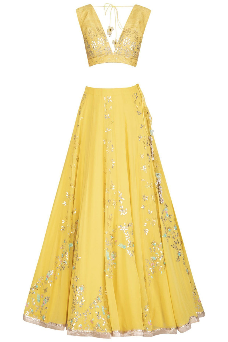 Lemon Georgette Lehenga with Raw Silk Blouse - devnaagri