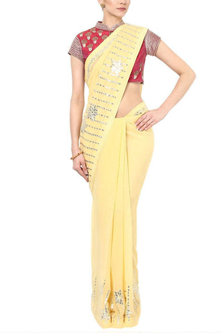 Lemon Yellow Gota Patti Saree with Embroidered Blouse - devnaagri