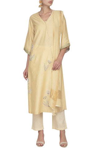 Light Beige Cotton Silk Kurta with Mulmul Pants - devnaagri