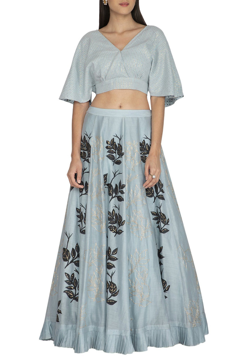Light Blue Chanderi Skirt with Crop Top - devnaagri