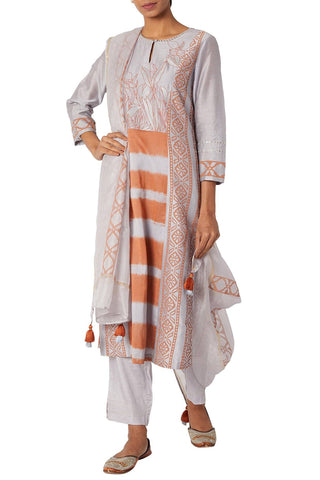 Light Grey Chanderi Kurta Set