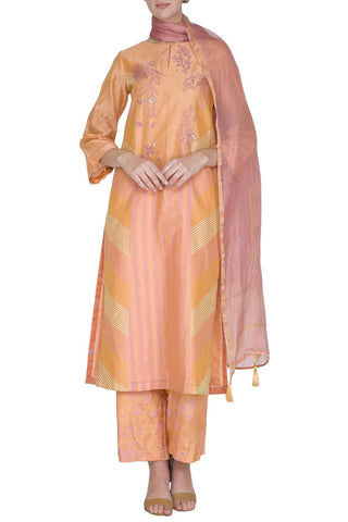 Light Orange Straight Kurta with Shantoon Pants - devnaagri