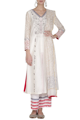 Light Pink Cotton Silk Kurta with Pallazo - devnaagri