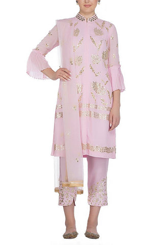 Light pink Suit with Satin Pants - devnaagri