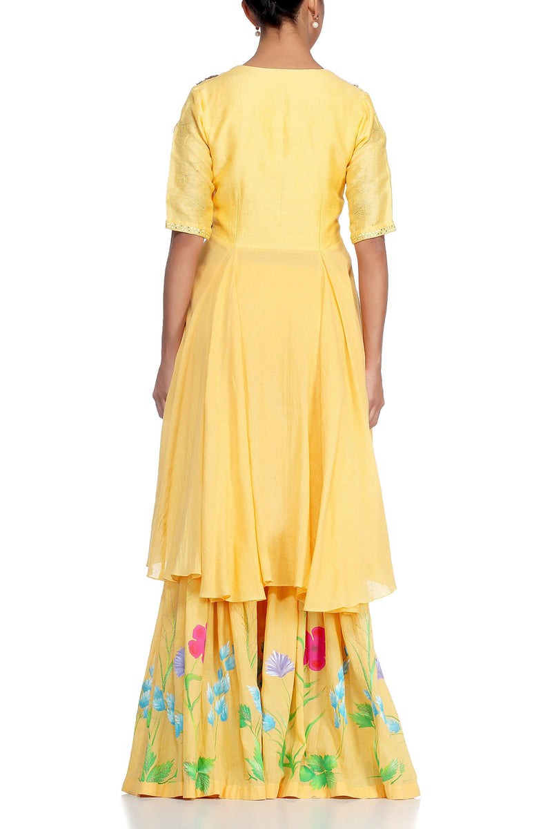 Mango Sharara with Chiffon Dupatta Set - devnaagri