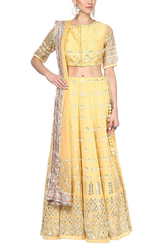 Mango Yellow and Champagne Gota Patti Embroidered Lehenga Set - devnaagri