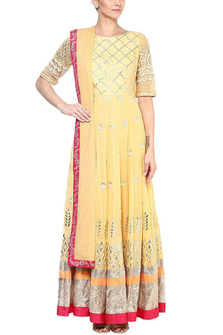 Mango Yellow Gota Patti and Embroidered Anarkali Set - devnaagri