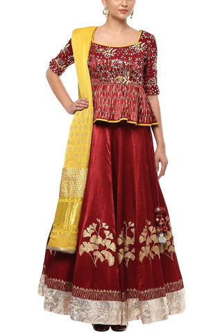 Maroon Gajji Lehenga with Peplum Blouse and Gajji Dupatta - devnaagri