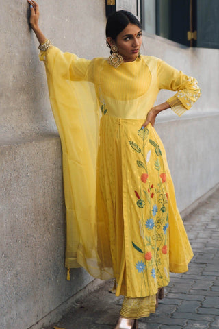 Masoom Minawala In Yellow Anarkali with Pallazo Pants