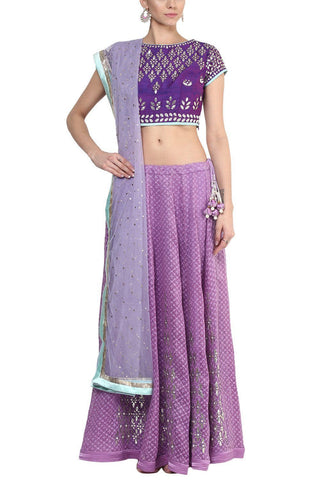 Mauve and Champagne Gota Patti Embroidered Lehenga Set - devnaagri