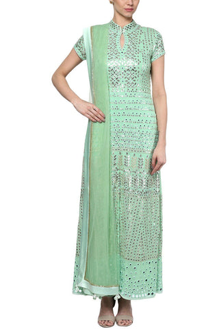 Mint Green Gota Patti and Zari Embroidered Kurta with Palazzo Pants - devnaagri