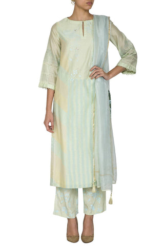 Mint Green Straight Kurta with Shantoon Pants - devnaagri