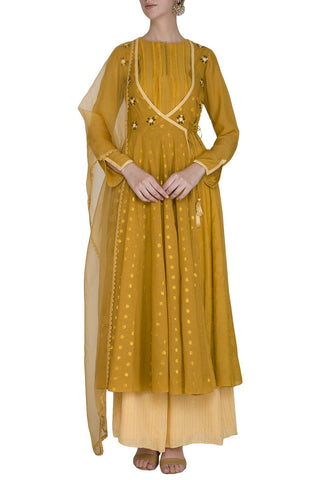 Mustard Anarkali Kurta with Palazzo Pants - devnaagri