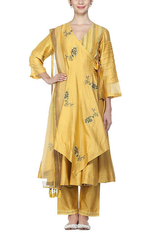 Mustard Anarkali with Pants Set - devnaagri