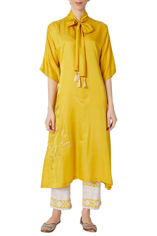 Mustard Asymmetric Kurta With Printed Shantoon Pants