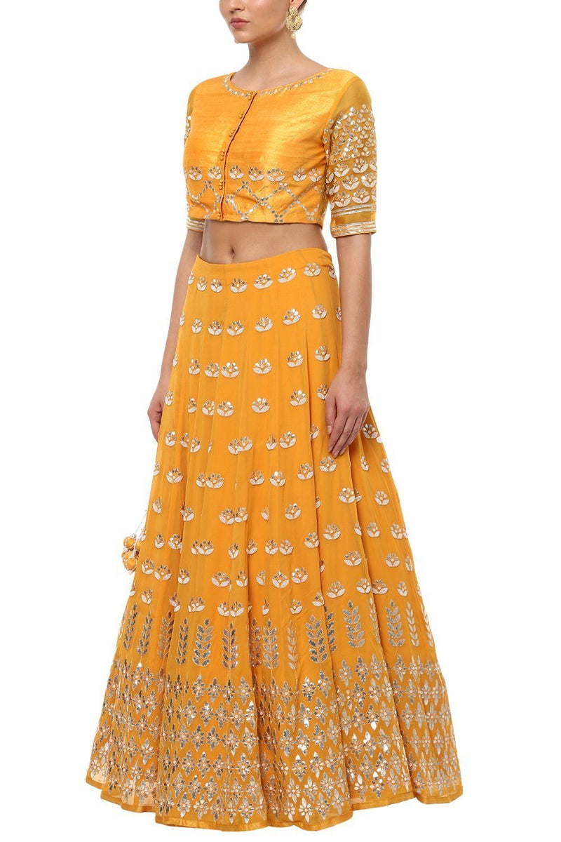 Mustard Gota Patti Embroidered Lehenga with Net Dupatta - devnaagri