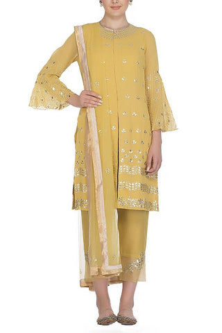 Mustard Yellow Suit with Satin Lycra Pants - devnaagri