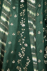 Green Panelled Gajji Lehenga with Self Gajji Blouse - devnaagri