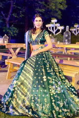 Navneet Randhawa In Green Panelled Gajji Lehenga with Self Gajji Blouse