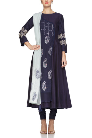 Navy Anarkali with Patra Work and Tassle Dupatta - devnaagri