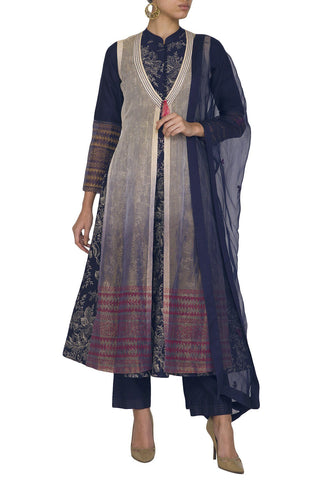 Navy Blue Anarkali Kurta with Pants - devnaagri