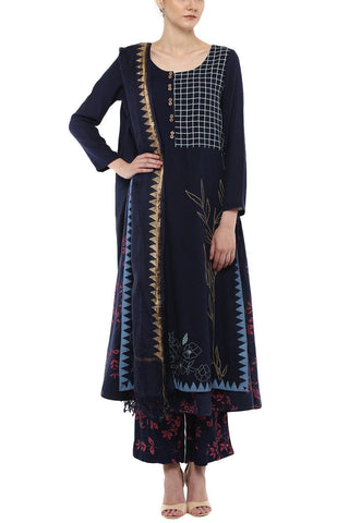 Navy Blue Cotton Anarkali with Printed Pallazo Set - devnaagri