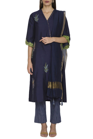 Navy Cotton Silk Kurta with Printed Pants