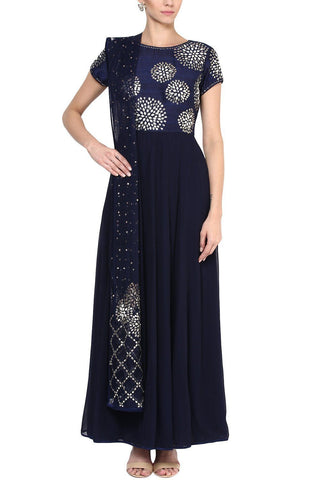 Navy Gota Patti and Pearl Embroidered Anarkali Set - devnaagri