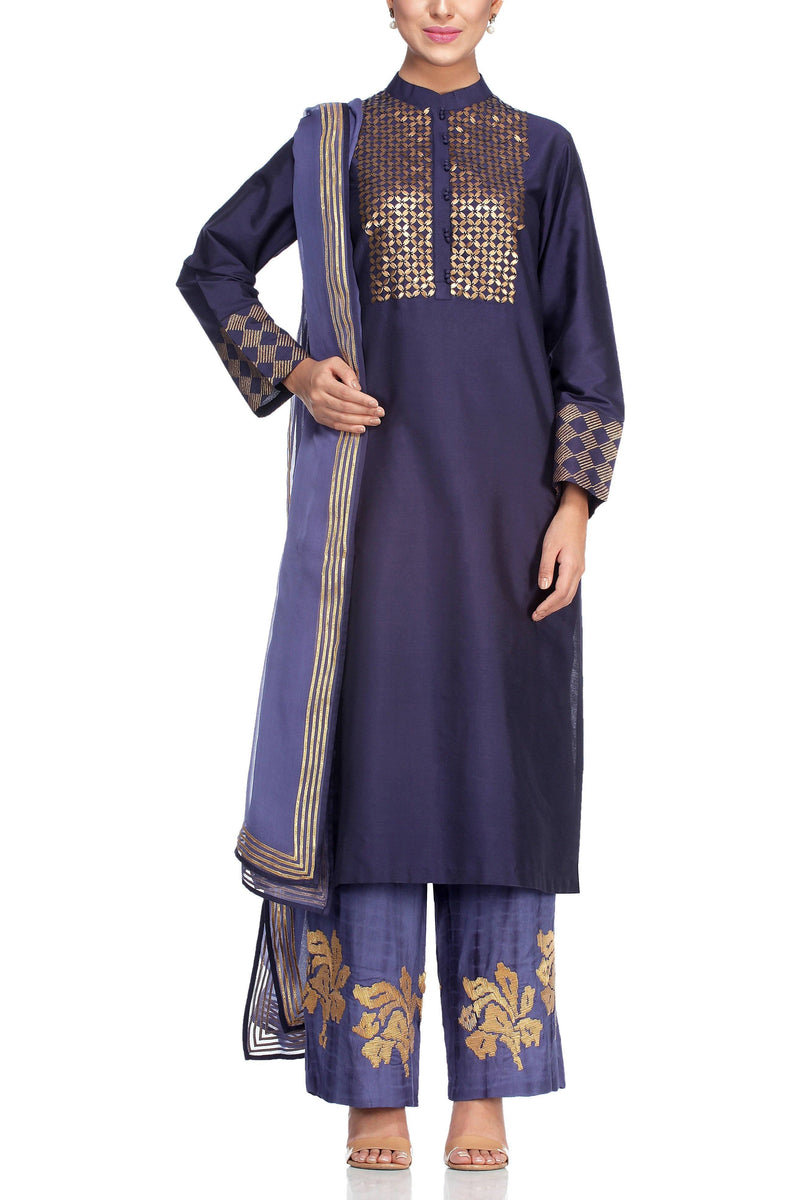 Navy Kurta with Metal Embroidery Set - devnaagri