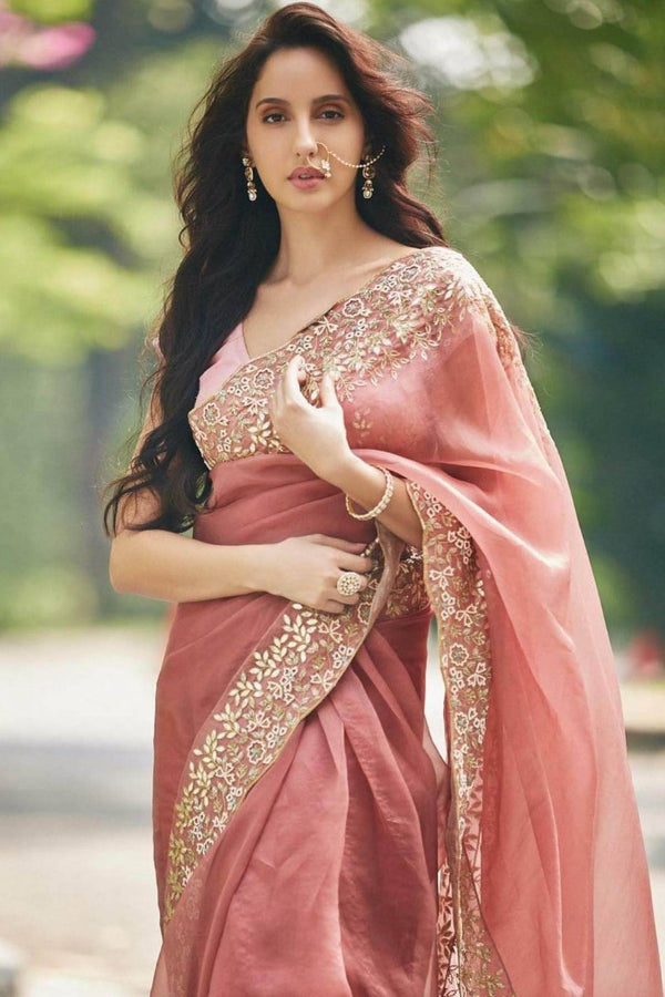 Nora Fatehi In Burgundy Saree with Raw Silk Blouse