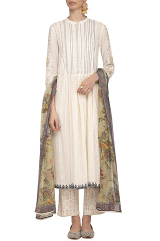 Off-White Blue Straight Kurta with Slim Pants - devnaagri