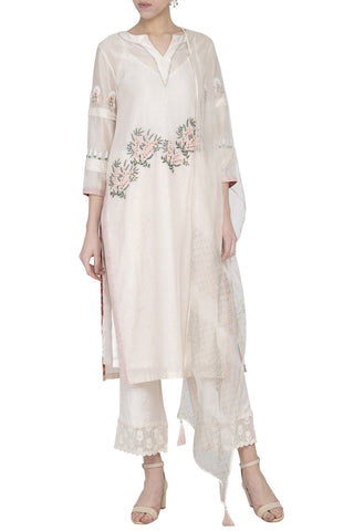 Off-White Chanderi Kurta with Shantoon Pallazo - devnaagri