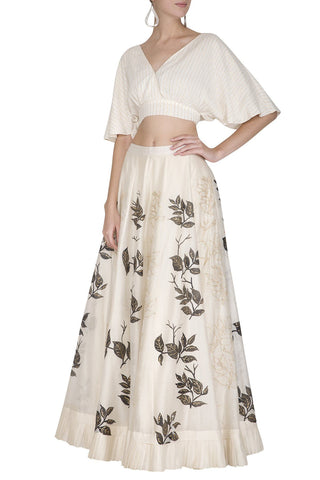 Off-White Chanderi Skirt with Crop Top - devnaagri