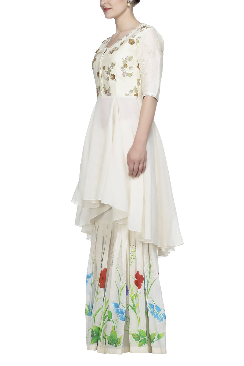 Off White Sharara with Chiffon Dupatta Set - devnaagri