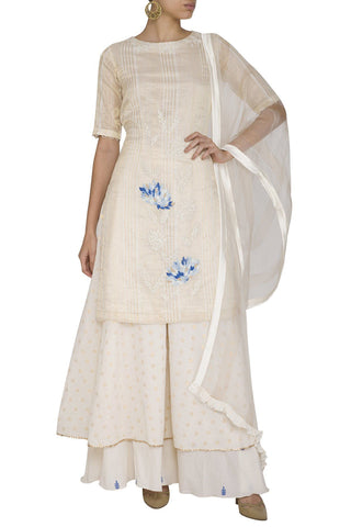 Off-White/Blue Kurta with Sharara - devnaagri
