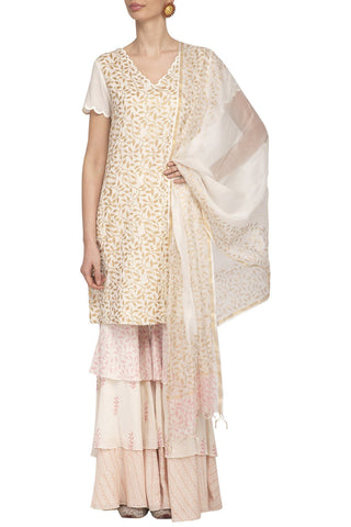 Off White/Pink Kurta with Sharara Set - devnaagri