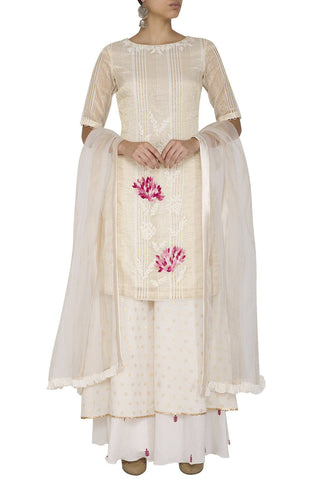 Off-White/Pink Kurta with Sharara - devnaagri