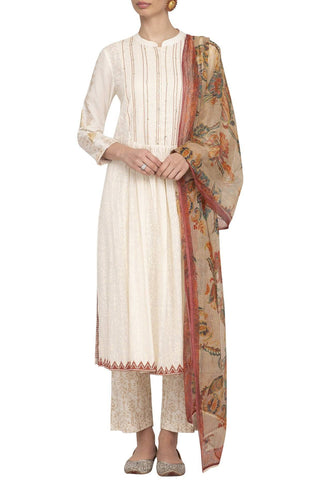 Off-White/Red Straight Kurta with Slim Pants - devnaagri