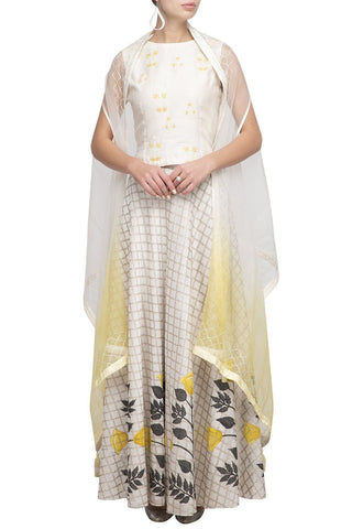 Off White/Yellow Chanderi skirt with top - devnaagri